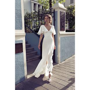 海边度假V领性感露背沙滩裙收腰荷叶边白色礼服连衣裙长裙轻婚纱