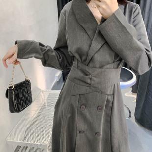 秋裝韓版流行polo領長袖輕熟風雙排扣西裝連衣裙收腰顯瘦氣質長裙