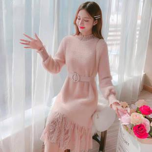 半高领连衣裙女秋冬2019新款韩版中长款蕾丝拼接时尚毛绒打底衫女