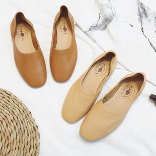 春季真皮文艺复古一脚蹬女鞋牛皮低跟奶奶鞋浅口舒适平底方头单鞋