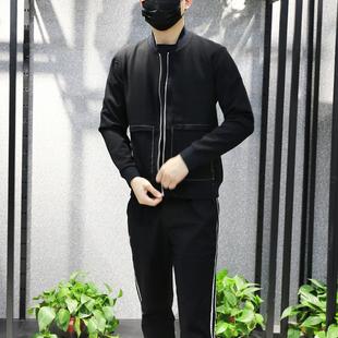 DS东隅桑榆夹克男棒球领修身休闲卫衣开衫男纯棉纯色简约外套男