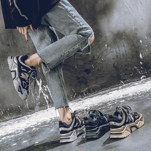 2019秋季新款韩版厚底松糕系带金属色老爹鞋休闲运动ins女学生鞋