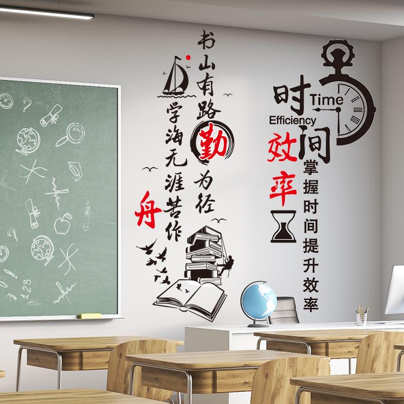 励志墙贴纸自粘辅导班教室布置装饰班级文化墙小学生标语墙壁贴画
