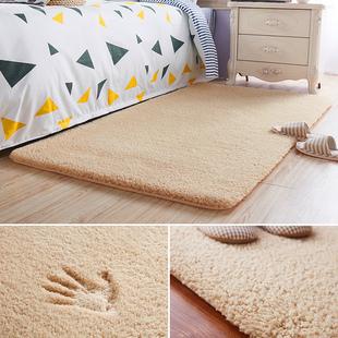 简约现代加厚羊羔绒床前床边卧室地毯客厅茶几毛毯飘窗满铺可定制