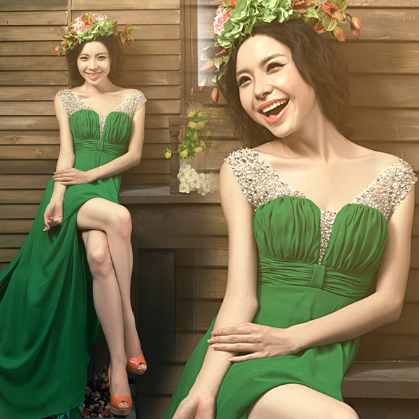 Вечернее платье Green Fairyland trace in wedding dresses  2015