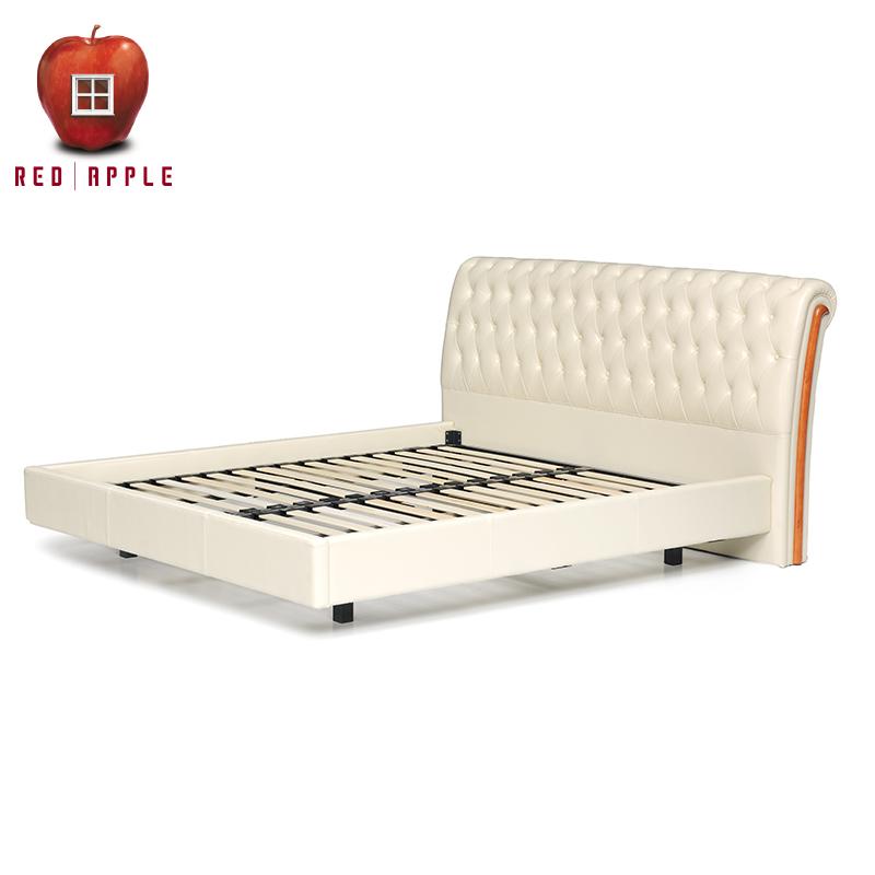 红苹果双人排骨架皮艺软靠床D819