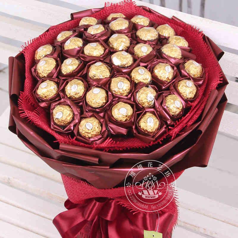Цветы из конфет круглых