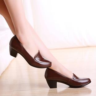 新款低跟单鞋女舒适真皮粗跟中年女土皮鞋中跟圆头中口春秋四季鞋