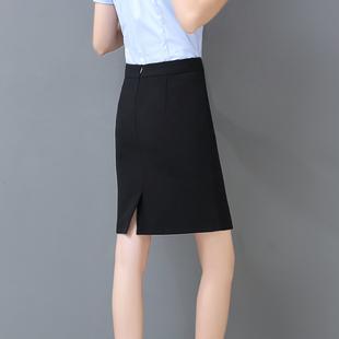春夏职业裙包裙包臀黑色半身裙一步裙工装短裙西裙正装裙西装裙女