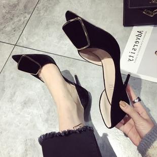 丝绒面职业上班鞋侧空女鞋韩版尖头高跟鞋方扣细跟气质名媛单鞋OL