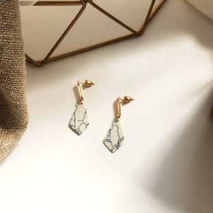 日韩国时尚简约耳环 创意菱形不规则花纹耳坠金属树脂耳饰7P-63E