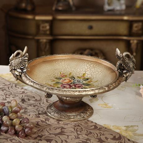 古典宫廷复古果盘 欧式家居摆件水果盘客厅餐桌装饰