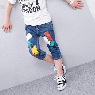 男童牛仔中夏装薄款儿童子短七分小学生12中大童装1