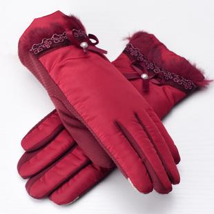 羚羊早安 中老年人女士冬季大红色手套女冬可爱韩版五指全掌保暖