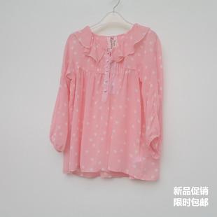 艾格淘特S/M专柜特惠 春夏薄透粉红圆点甜美七分袖雪纺衫4E4370