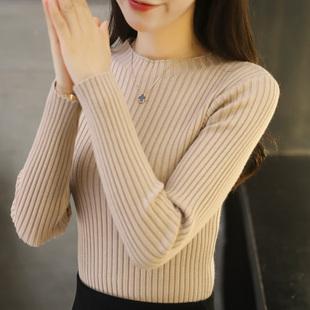半高圆领毛衣女套头长袖修身加厚短款打底衫2018秋冬新款针织衫女