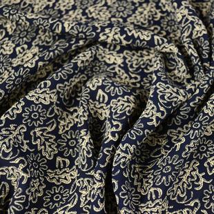 藏蓝色底太阳花高捻雪纺布料 柔软垂顺抗皱好微透 连衣裙衬衣面料