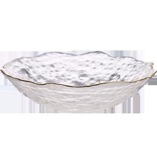 北欧风格金边水晶玻璃水果盘客厅茶几家用创意现代沙拉甜品糖果盘