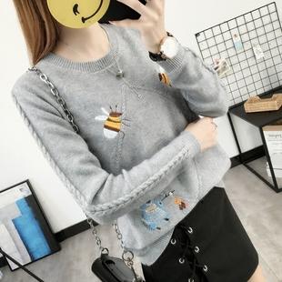 女装秋冬新款韩版圆领刺绣小蜜蜂针织衫女套头毛衣学生百搭打底衫