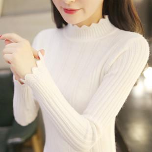 秋冬新款白色毛衣女装修身套头短款长袖半高领百搭加厚打底针织衫