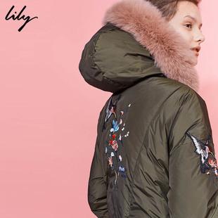 预售Lily2017冬新款长款拉链刺绣印花外套连帽羽绒服117439D1924