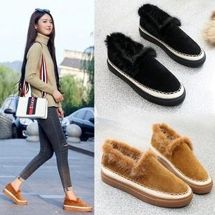 毛毛鞋厚底一脚蹬棉鞋女