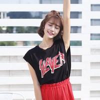 WHATEVER新款女装纯色字母印花无袖T恤夏季个性街头大背心BF风潮
