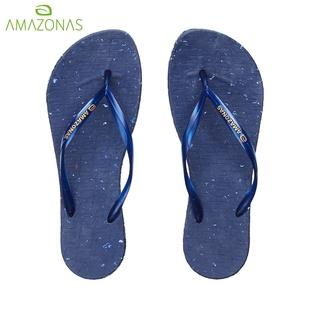 AMAZONAS巴西人字拖女橡胶底防滑耐磨简约纯色凉拖深蓝沙滩拖鞋女