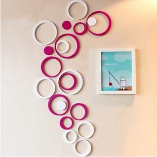 圆圆圈圈 立体水晶3D亚克力墙贴客厅沙发电视背景墙水晶立体墙贴
