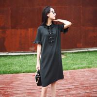 Q21461 少女心事~珍珠扣木耳花边 墨绿色垂感细纱线针织连衣裙
