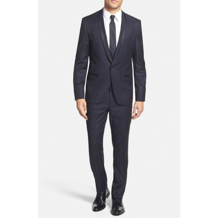 цена Деловой костюм Hugo Boss q01394297 Navy онлайн в 2017 году
