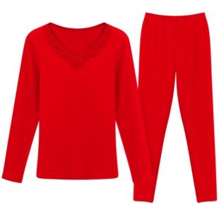 本命年女士保暖内衣套装鼠年大红色结婚纯棉薄款打底紧身秋衣秋裤