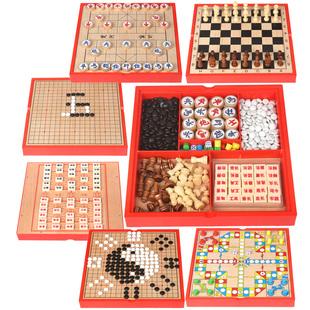 儿童木制多功能六合一游戏棋盘 益智桌面游戏玩具象棋飞行棋围棋