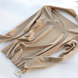 STW女式内衣打底秋衣莫代爾無痕保暖上裝圓領長袖T恤寬松上衣