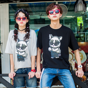 唐狮夏装新款情侣短袖T恤男青少年卡通印花趣味圆领潮流T恤打底衫