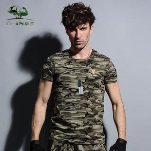 季言2017新款徽章军装迷彩短袖T恤男 圆领特种兵半袖体恤修身型