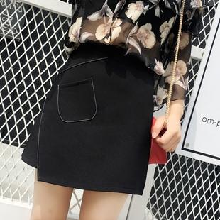 2019春款新款不规则半身裙高腰显瘦A字包臀裙女夏学生ins黑色短裙
