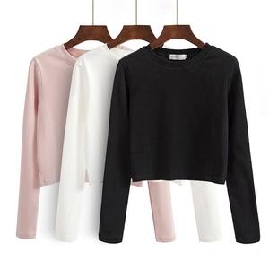 百搭t恤女秋季2017新款韩版纯色长袖上衣学生短款修身体恤打底衫