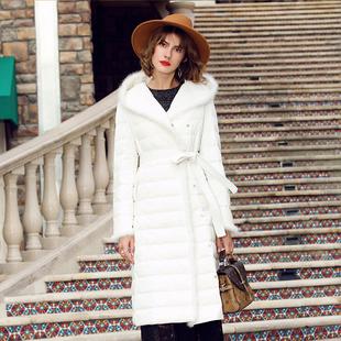 欧洲站轻薄羽绒服女中长款2017冬季新款显瘦过膝连帽白鸭绒外套潮