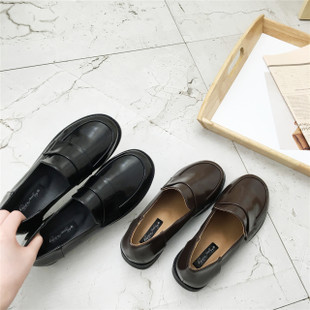 英伦风女鞋黑色小皮鞋女生秋季潮百搭韩版学院风原宿软妹圆头单鞋