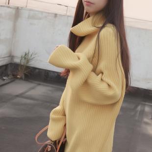 秋冬新款女装打底针织衫套头宽松韩版中长款大袖子高领毛衣