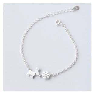 苏茉925纯银手链脚链小鹿雪花女圣诞减龄甜美闺蜜女友礼物