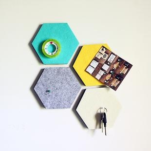 N【大可叔叔】韩国创意墙贴毛毡六角形置物墙贴装饰板 自由组合