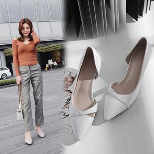 百搭侧空猫跟鞋女三厘米尖头浅口单鞋高跟鞋细跟3CM小跟鞋凉鞋