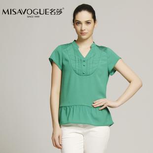 MISAVOGUE/名莎专柜正品 002C182时尚百搭高腰显瘦短袖V领衬衫