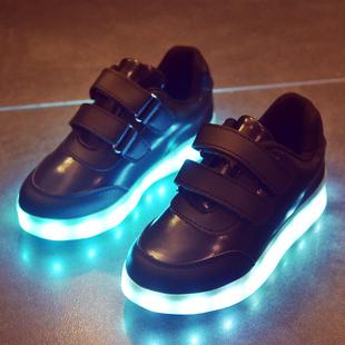 韩版儿童发光鞋男童鞋带灯夜光鞋usb充电女童闪灯鞋led七彩亮灯鞋