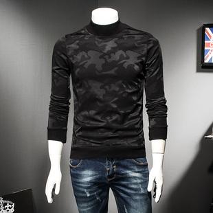 新款迷彩半高领长袖T恤 男修身冬季新款加厚加绒休闲保暖打底衫潮