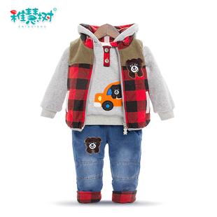 韩版2017秋冬款一岁宝宝冬装男1-3岁潮套装童装男童三件套两周岁2