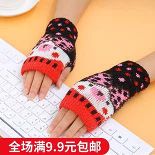 手套女冬可爱女士手套 韩版新款学生冬季保暖加厚羊毛半指手套