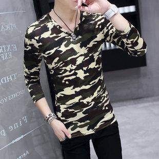 夏季男士长袖T恤韩版修身V领打底衫男花色弹力衫迷彩青少年上衣服
